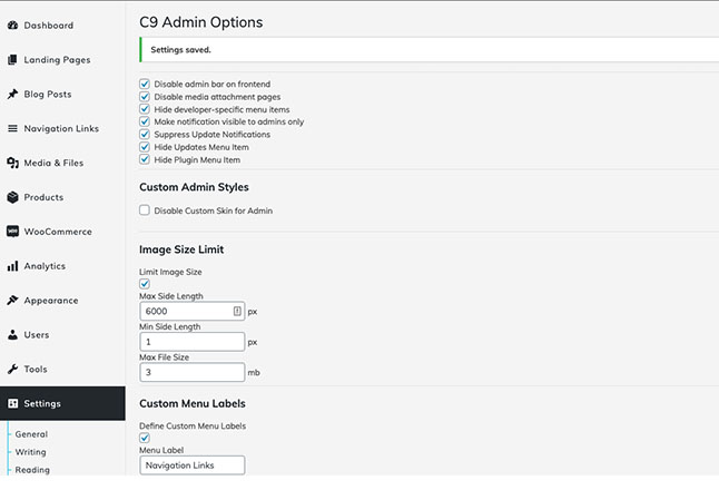 Set admin settings for visibility, labels, max image upload size and admin bar