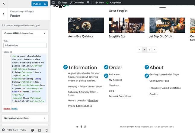 Add custom content to universal site footer