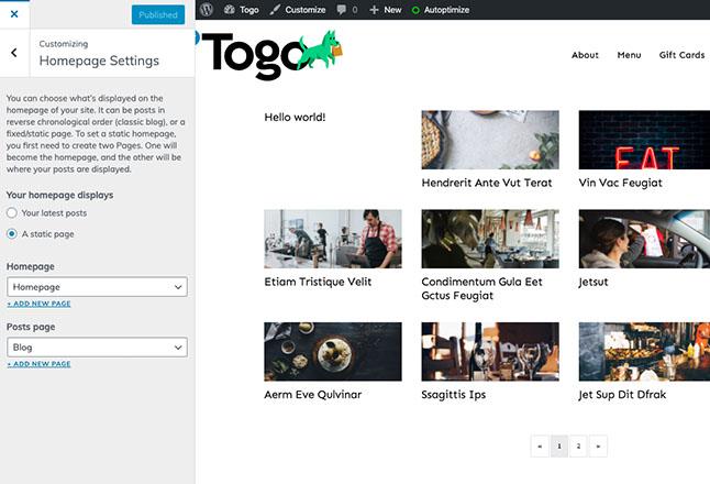 Set homepage to custom homepage we imported